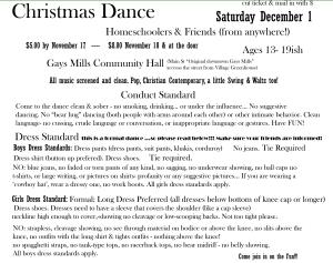 Homeschool & Friends  Formal Dance Dec 2012 - Code of Conduct and Dress Standards