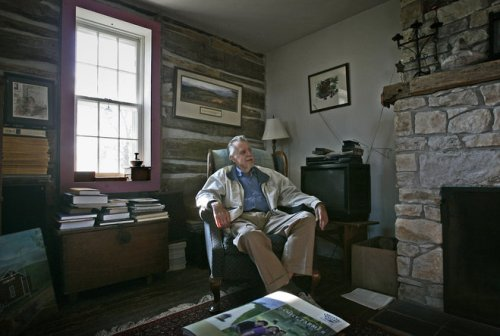 Author Ben Logan relaxes in his old family farmstead near Steuben in Crawford County in 2006 Photo Credit-Gary Porter, Journal-Sentinel