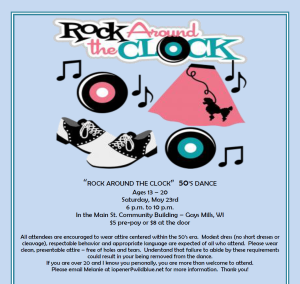 rock around the clock dance flyer only