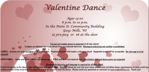 valentine dance flyer only